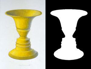Optical illusion: a vase or two faces?